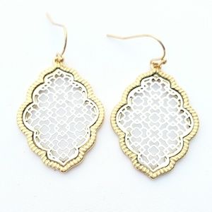 Gold Dangle Earrings with Silver Laser Cut Face